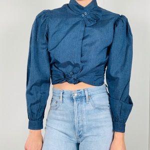 Vintage blue plaid puff sleeve ruffle blouse